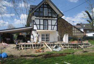 Lebenslust_Architekturbuero_Fachwerk_Bauphase Rohbau Erdgeschoss Gartenansicht